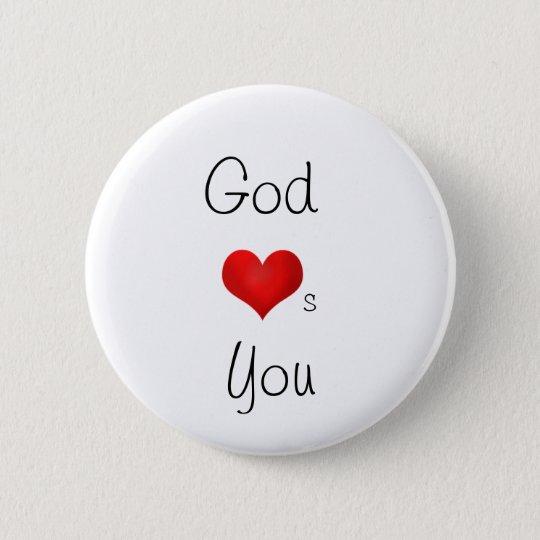 God loves you 6 cm round badge
