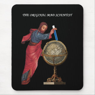 "God ""mad scientist"" mouse pad"