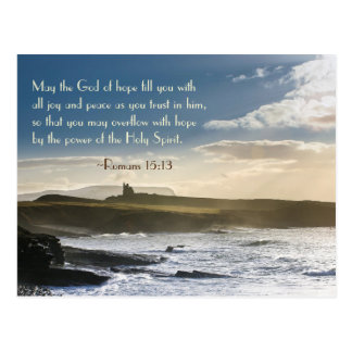 God of Hope, Romans 15:13 Bible Verse, Irish Coast Postcard