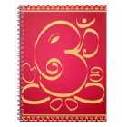God  Om Ganesha on red Notebook