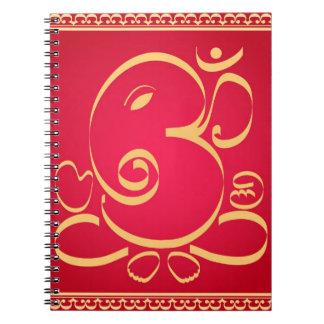 God  Om Ganesha on red Notebook