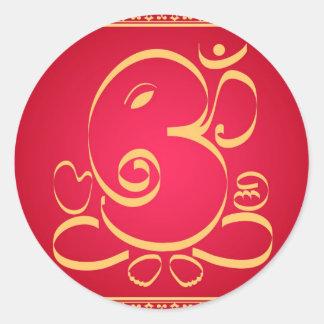 God  Om Ganesha on red Round Sticker