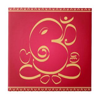 God  Om Ganesha on red Tiles
