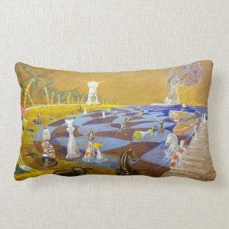 God Playing Chess Game Lumbar Pillow