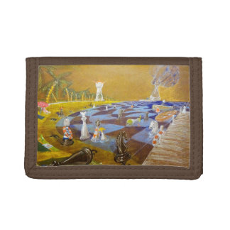 God Playing Chess Game Tri-fold Wallets