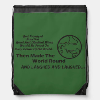 """God Promised Man"" Funny stringbag Drawstring Bag"