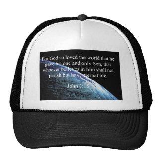 """God Quotes: John 3:16 -- """"God Loved The World"""" Trucker Hat"""