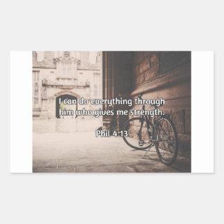 "God Quotes: Phil 4:13 -- ""God Gives Strength"" Rectangular Sticker"
