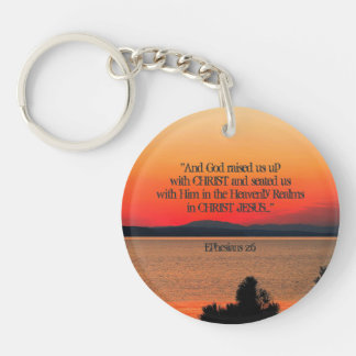God raised us up with Christ Scripture Personalize Key Ring