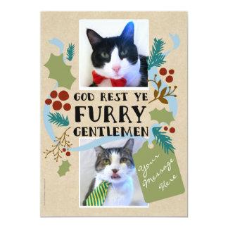 God Rest Ye Furry Gentlemen Pet Photos 13 Cm X 18 Cm Invitation Card
