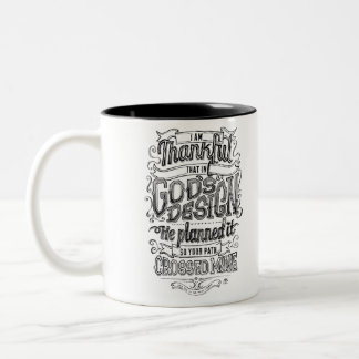 God's Design Hand lettered chalkboard gift Two-Tone Coffee Mug