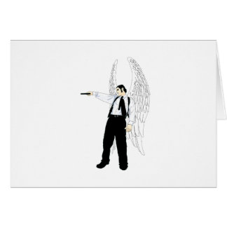 God s Hitman Angel With a Pistol Greeting Card