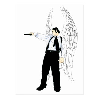 God s Hitman Angel With a Pistol Post Card