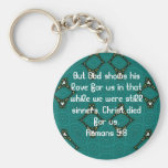 God's Love Scripture Quote Romans 5:8 Basic Round Button Key Ring