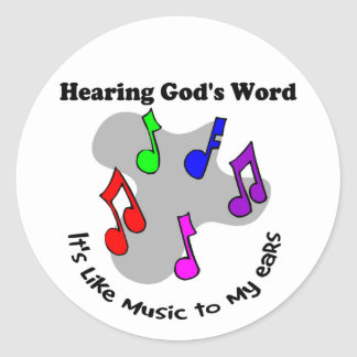 God s word is like music round stickers