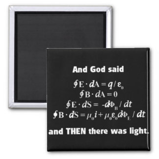 God Said Let There Be Light Religious Satire Square Magnet