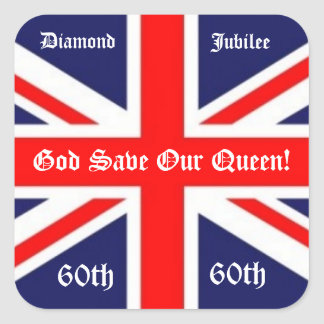 God Save Our Queen -60 years British Flag Stickers