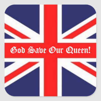 God Save Our Queen -British Flag Square Stickers