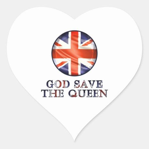 God Save The Queen Heart Sticker