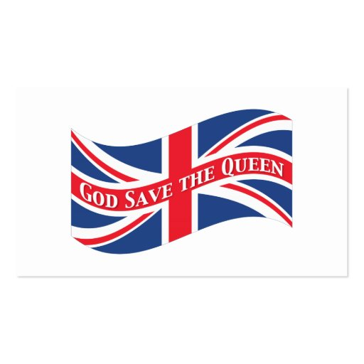 God save the queen with union jack business card templates for Union made business cards