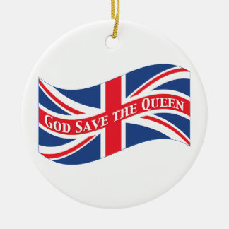 God Save the Queen with Union Jack Christmas Ornament