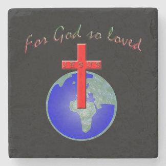 God so loved stone coaster