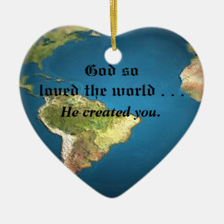 God So Loved The World Double-Sided Heart Ceramic Christmas Ornament