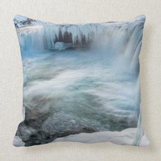 Godafoss waterfall, winter, Iceland 2 Throw Pillow