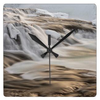 Godafoss waterfall, winter, Iceland Square Wall Clock