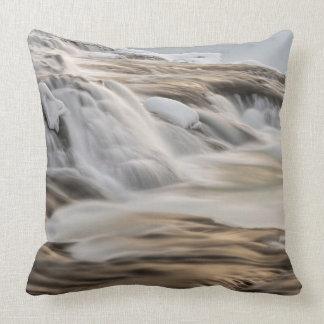 Godafoss waterfall, winter, Iceland Throw Pillow