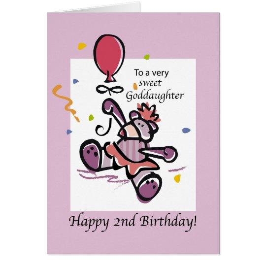 Goddaughter 2nd Birthday Bear Balloon Card