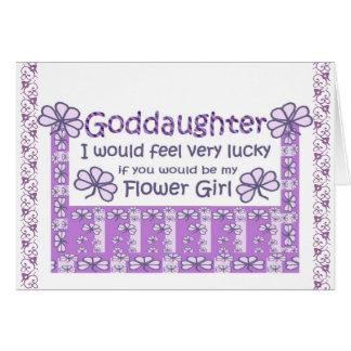 GODDAUGHTER - Be My Flower Girl - Purple Shamrocks Greeting Cards