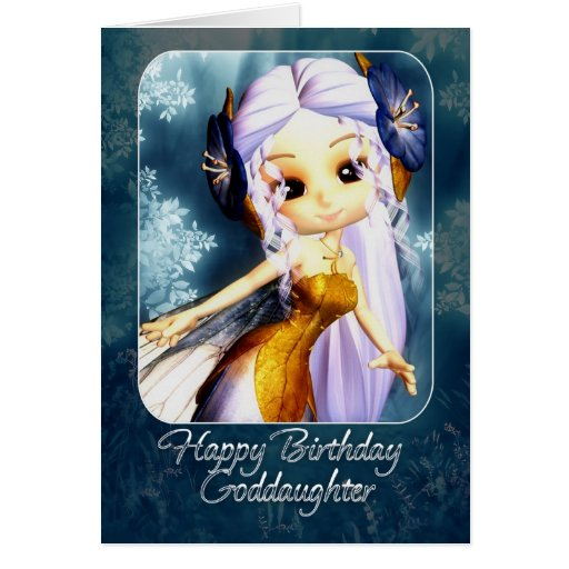 Goddaughter Birthday Card - Cute Blue Fairy
