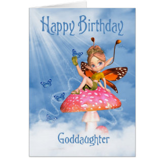 Goddaughter Birthday Card - Cute Fairy On A Mushro