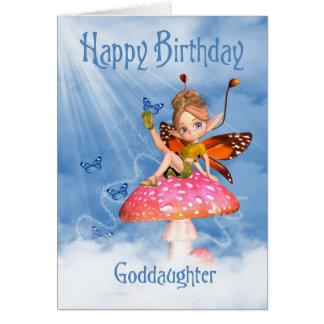 Goddaughter Birthday Card - Cute Fairy On A Mushro