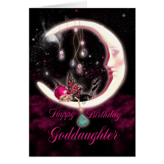 Goddaughter Birthday Card - Fantasy Moon Fairy