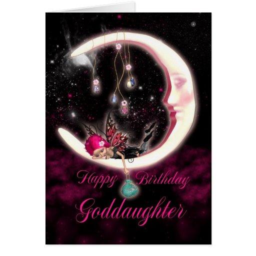 Goddaughter Birthday Card - Fantasy Moon Fairy
