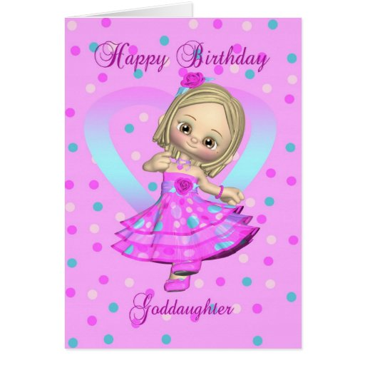 goddaughter birthday card - pink and blue polka do