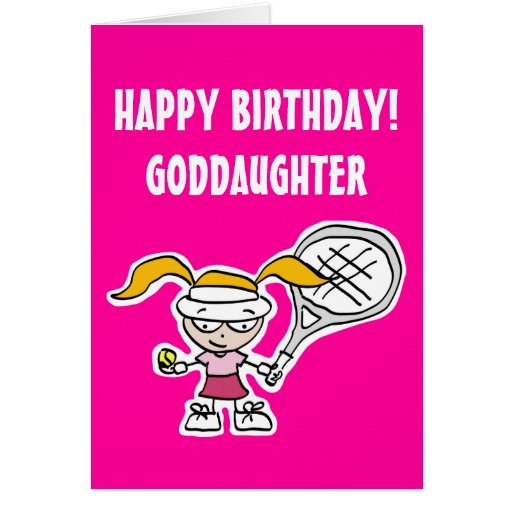 Birthday Quotes Goddaughter: Goddaughter Birthday Card With Cute Tennis Girl