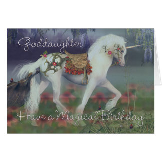 Goddaughter Birthday Card with Unicorn, Fantasy Bi
