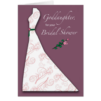 Goddaughter, Bridal Shower Dress Silhouette Plum Card