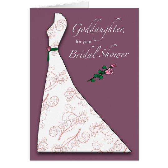 Goddaughter, Bridal Shower Dress Silhouette Plum Card