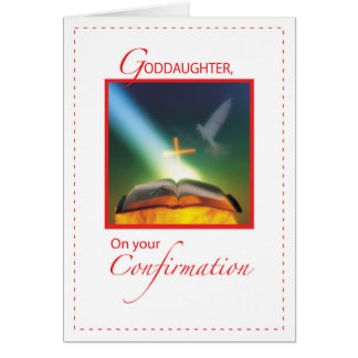 Goddaughter Confirmation Dove, Bible, Cross Card
