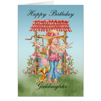 Goddaughter Cute Girl And Wishing Well Birthday Ca Card