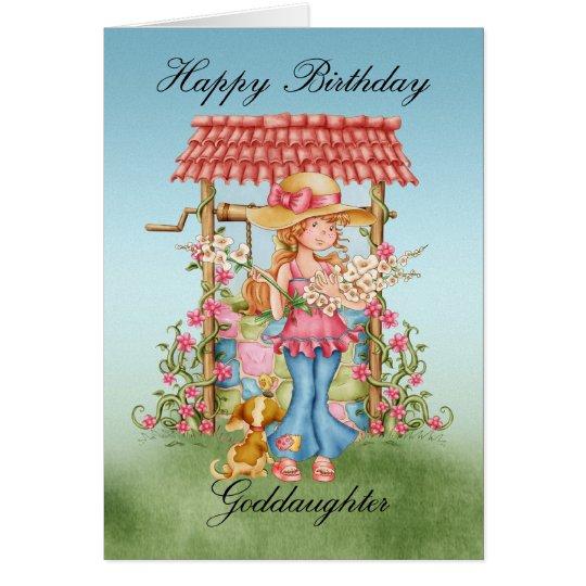 Goddaughter Cute Girl And Wishing Well Birthday Ca
