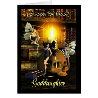 goddaughter, fairy lights - fairy birthday card