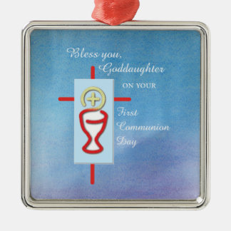 Goddaughter, First Holy Communion, Turquoise Christmas Ornament