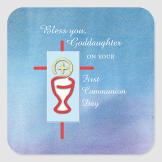 Goddaughter, First Holy Communion, Turquoise Square Sticker