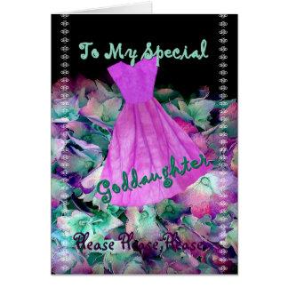 GODDAUGHTER Flower Girl Purple Dress and Flowers Card
