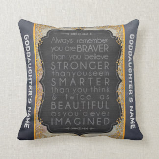 Goddaughter Gift Motivational Words Personalized Cushion